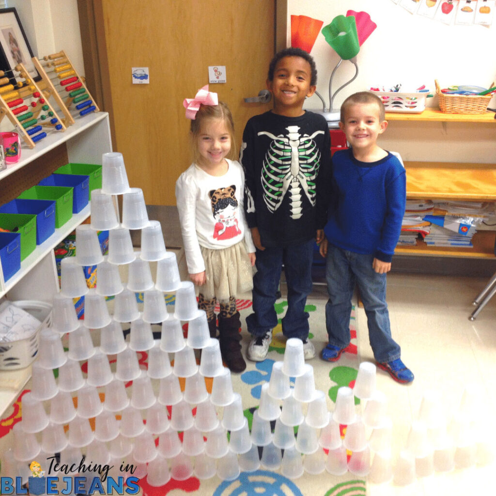 cup stacking building activity for the 100th day of school