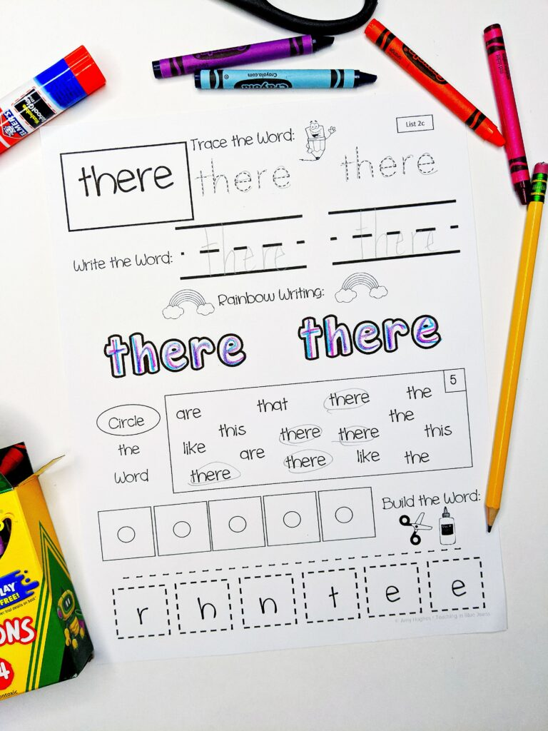 sight word practice page there