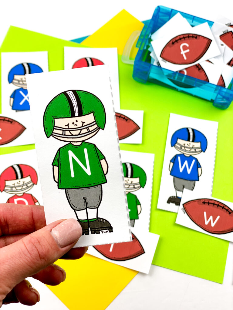football letter cards can be used for letter matching and word building