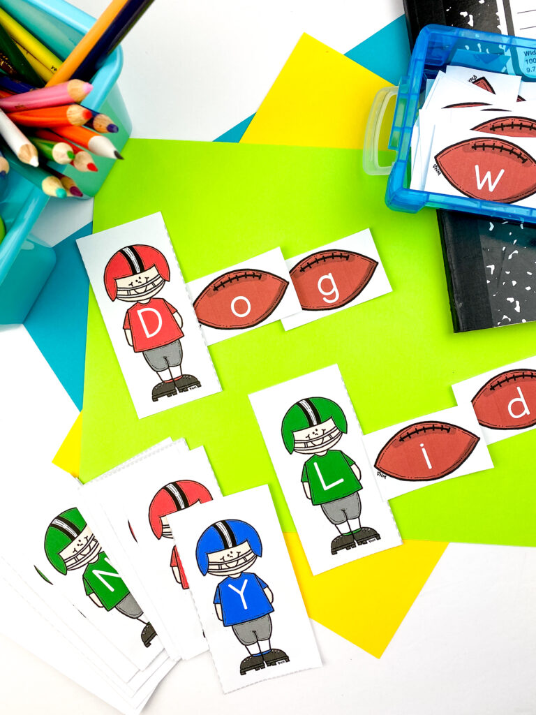 football letter cards for word building