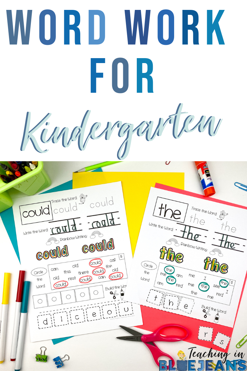 word work ideas for kindergarten or primary classrooms