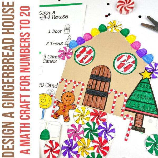 Design a Gingerbread House a counting activity for numbers to 20