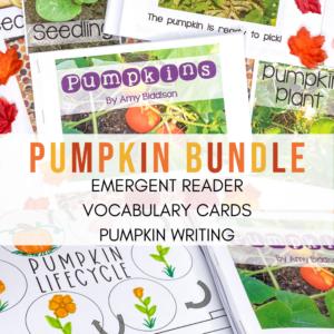 Pumpkin Bundle with emergent pumpkin science reader vocabulary cards and pumpkin writing activities