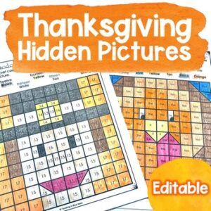 Thanksgiving hidden picture puzzles that are editable for any skill or concept
