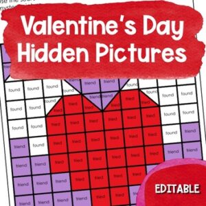 Editable Valentine's Day Hidden Picture Puzzles are an easy way to connect skills practice with theholiday