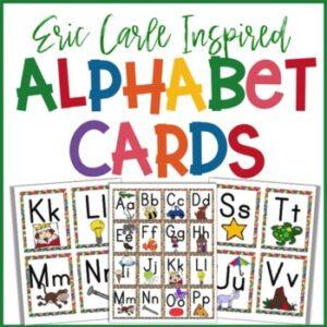 eric carle inspired classroom alphabet flashcards