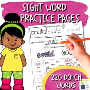 sight word practice pages for the entire dolch sight word list