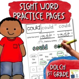 sight word practice pages for the dolch first grade word list