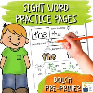 sight word practice pages for the dolch pre-primer word list
