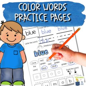 color words worksheets for reading spelling writing