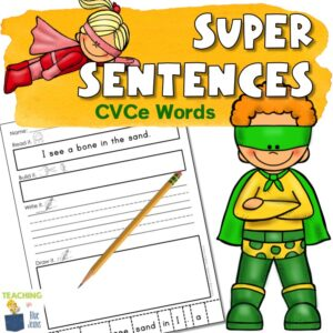sentence writing practice for CVCe words and sight words