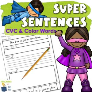 sentence practice for CVC color words and sight words