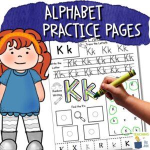 alphabet practice pages for preschool preK kindergarten