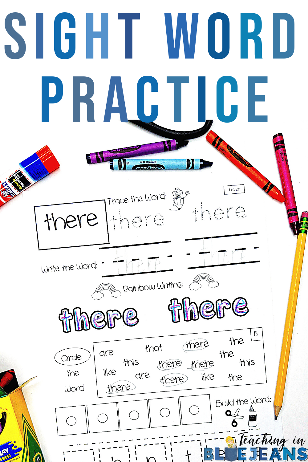 Sight Word practice pages are one page worksheets with focused sight word practice for reading, writing and spelling
