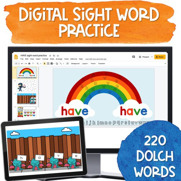digital sight word practice for the entire dolch sight word list