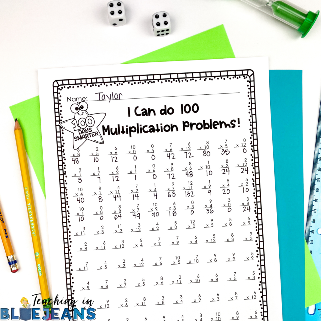 i can do 100 multiplication problems