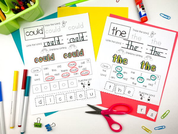 sight word practice pages helps students with reading, writing and spelling sight words