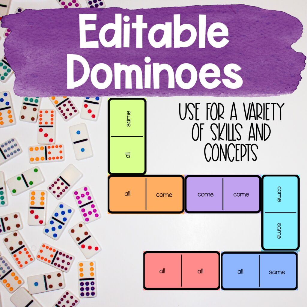 editable dominoes for a skill based review game - can be edited for a variety of skills and concepts