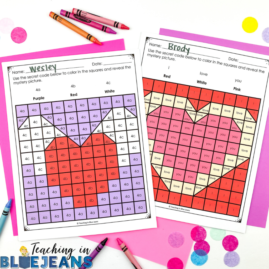 Valentine's Day hidden picture puzzles that are editable for different skills