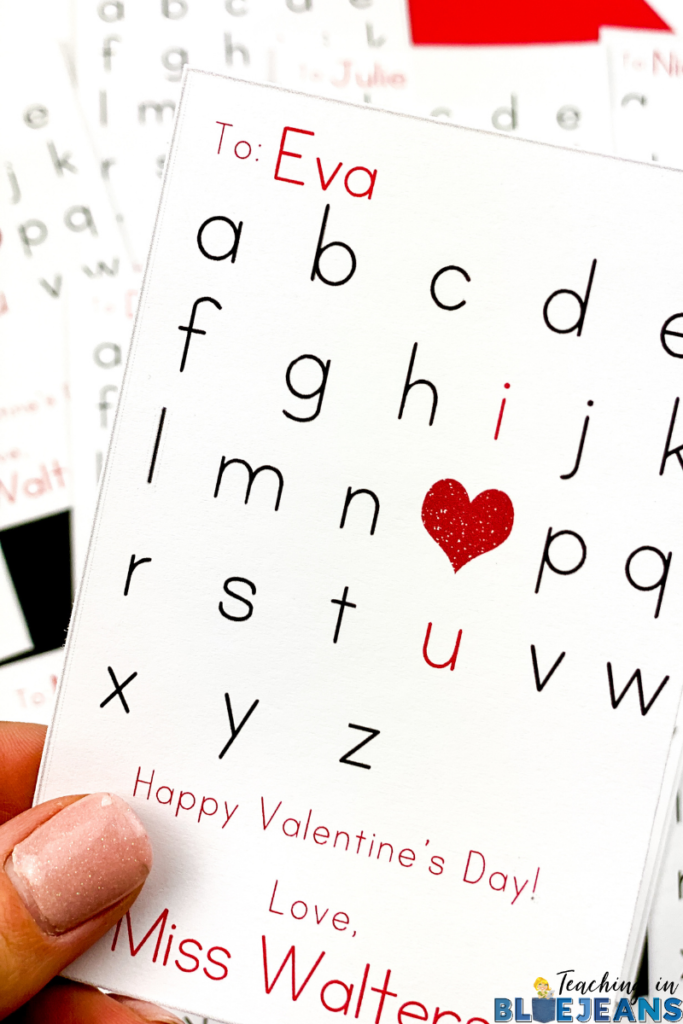 This editable Valentine's day card is the perfect one for a primary teacher to give to their students.  Using the alphabet, the letters i, o (which is made by a heart) and u are highlighted in red so they stand out.