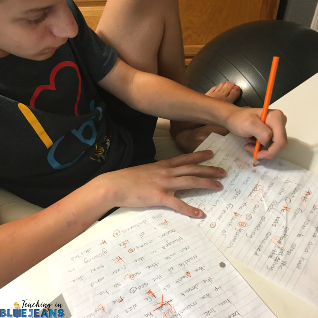 My reluctant writer son is revising and editing a rough draft using the transcription