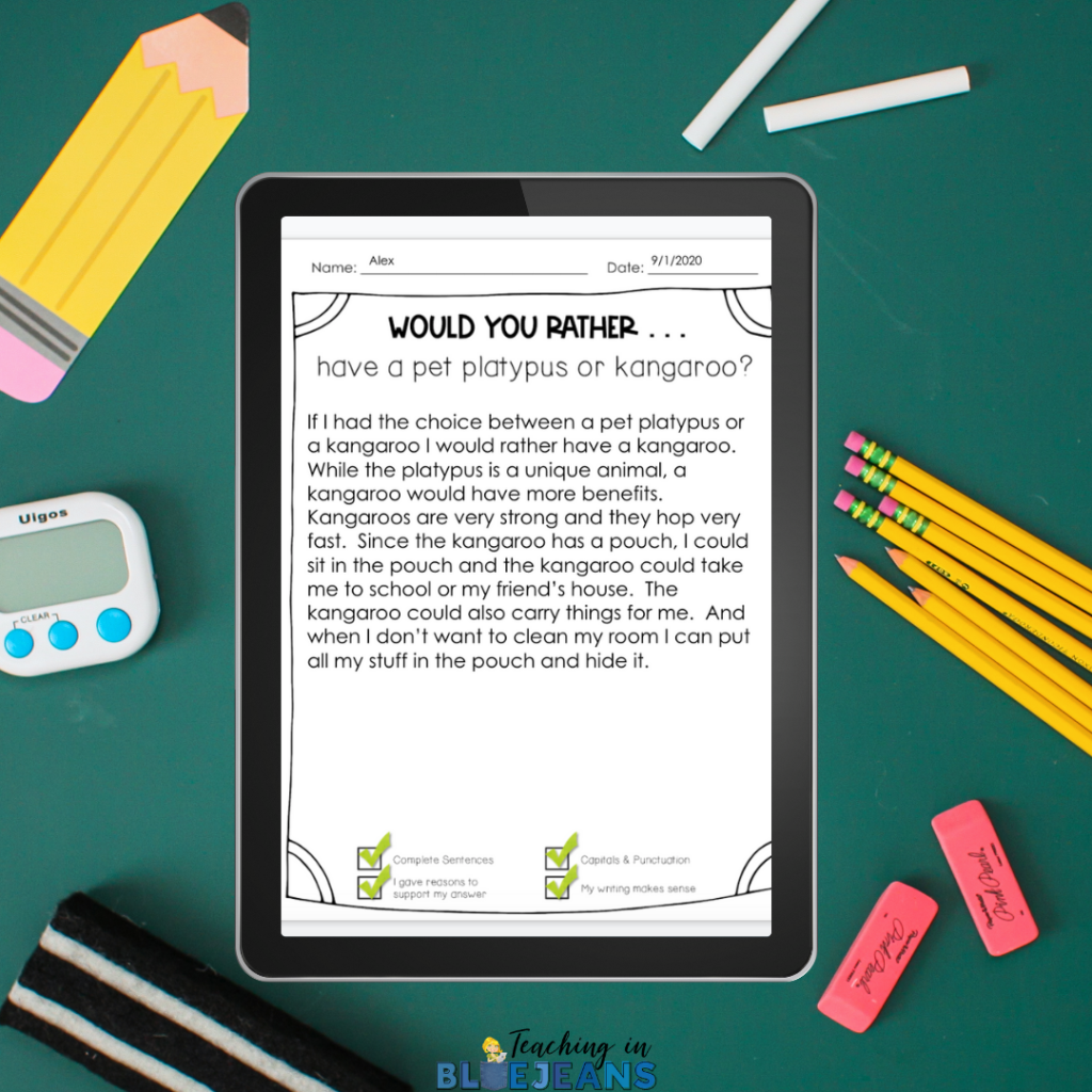 Printable or Digital Would You Rather writing prompts are loved by reluctant writers.  They are fun, engaging and a little off the wall.