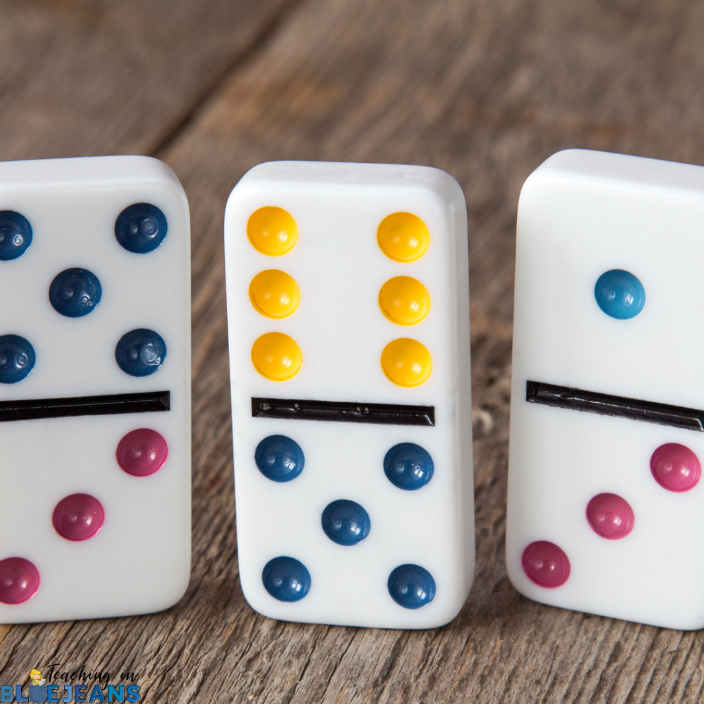 dominos provide a fun alternative to flashcards for practicing basic math facts