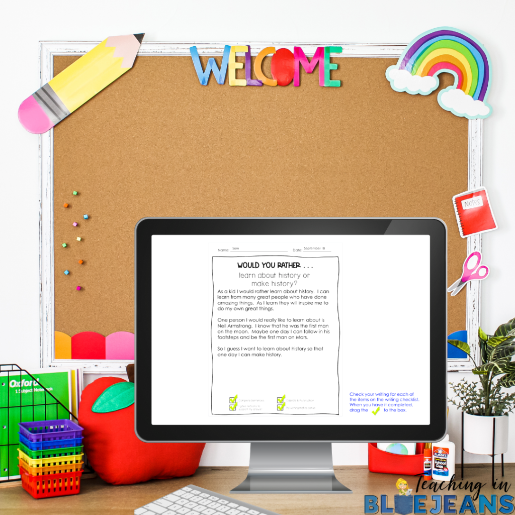 would you rather writing prompts digital or printable writing activity