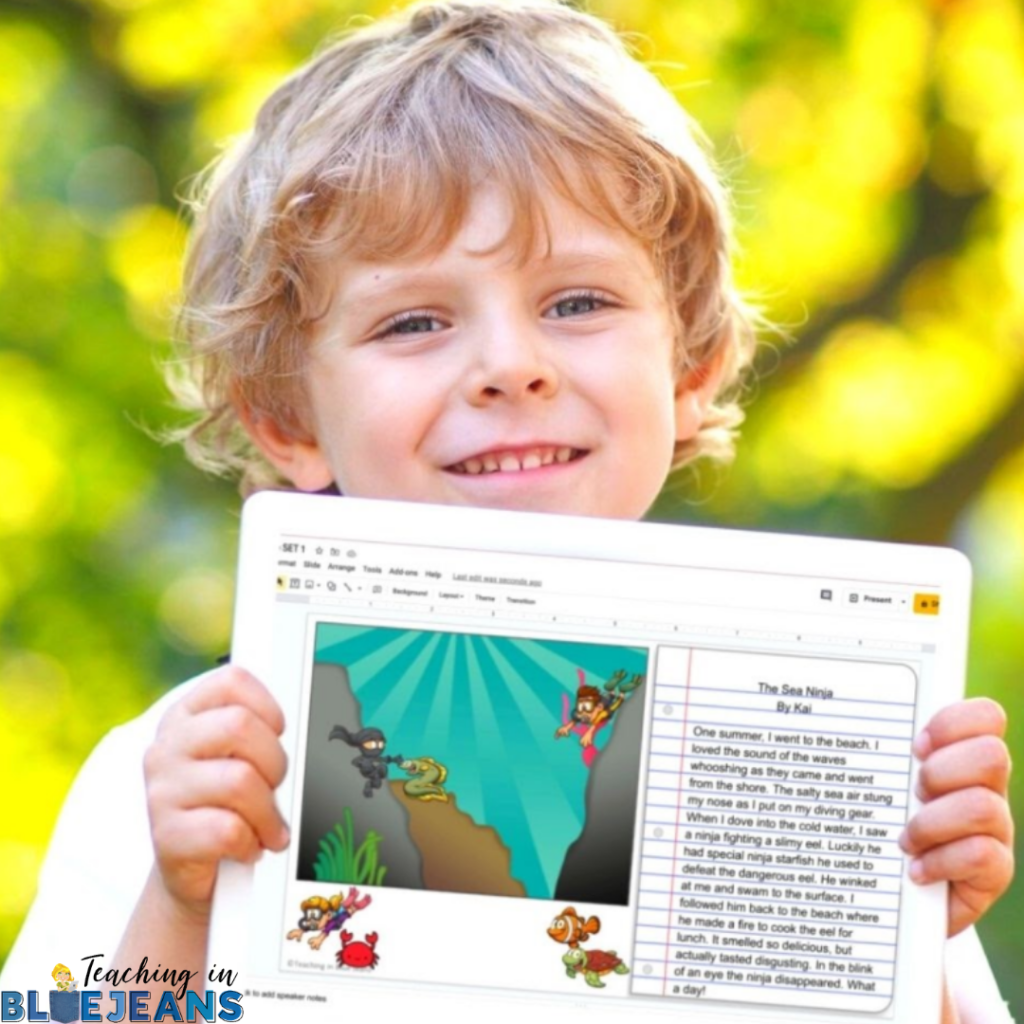 boy holding tablet with his completed writing using Build a Scene digital writing prompts
