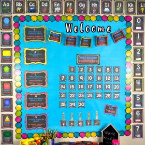 bilingual english spanish dual language classroom decor chalkboard theme
