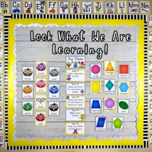 Gray and Yellow classroom decor theme