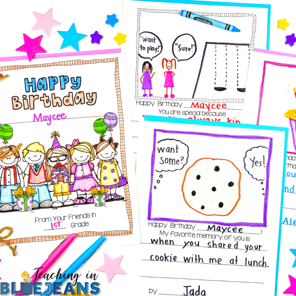 Celebrations are a great way to make people feel connected.  Celebrating student birthdays is a great way to do that int he classroom.  This Happy Birthday Class Book allows you to connect student birthdays to writing and build community at the same time.
