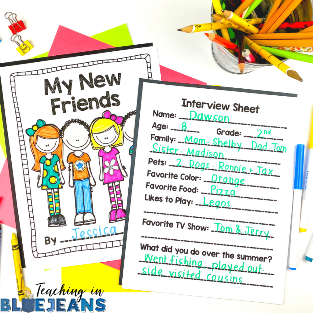 My New Friends is a student interview and writing activity that is perfect for the first days and weeks of the school year. A great way to build community in the classroom.
