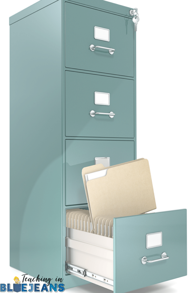 the filing cabinet might be helpful in classroom organization but it can also take up a lot of space and just create more paper clutter