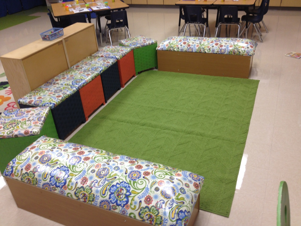 seating with storage is a great way to create a dual purpose for the furniture and items in the classroom and it helps to organize the room and maximize the space
